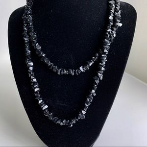 "17.5"" Black glass bead necklace"